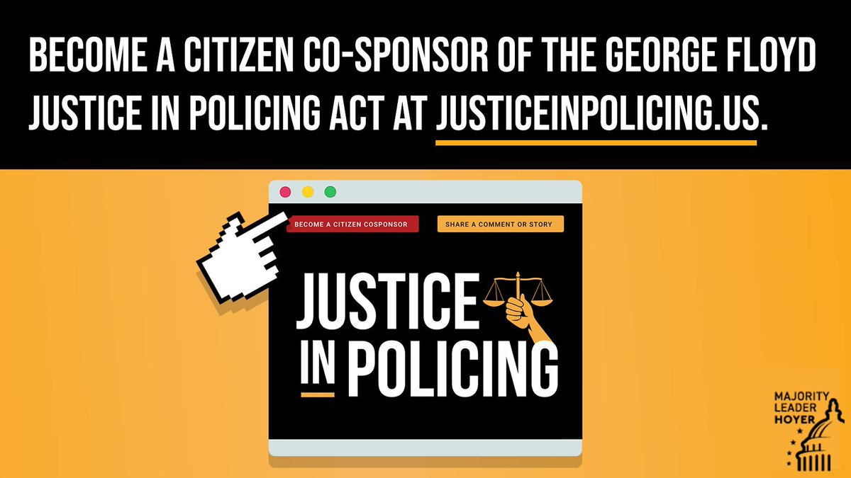 Last year, more than 7,000 Americans signed up to become a citizen co-sponsor of the George Floyd #JusticeinPolicing Act. As the House prepares to consider this bill again, I encourage more people to learn about the legislation & register their views here: