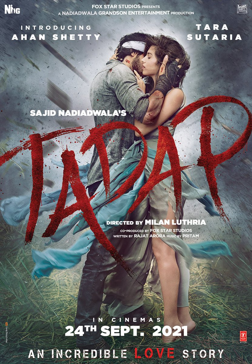 FIRST LOOK TARA SAUTARIA & AHAN SHETTY... #Tadap release on 24 Sep 2021... Starring, #AhanShetty and #TaraSutaria... Directed by MilanLuthria... Produced by #SajidNadiadwala... Fox Star Studios Presents.