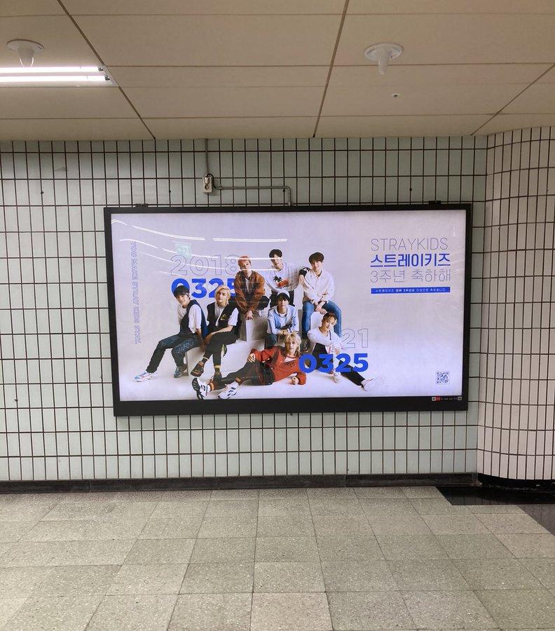 [INFO] [030321] 📢  Más anuncios de @Stray_Kids por su 3er aniversario están colocados en la estación de Dunchon-dong   #StrayKids #스트레이키즈  Cr. StayVotingZone/C_bini_H