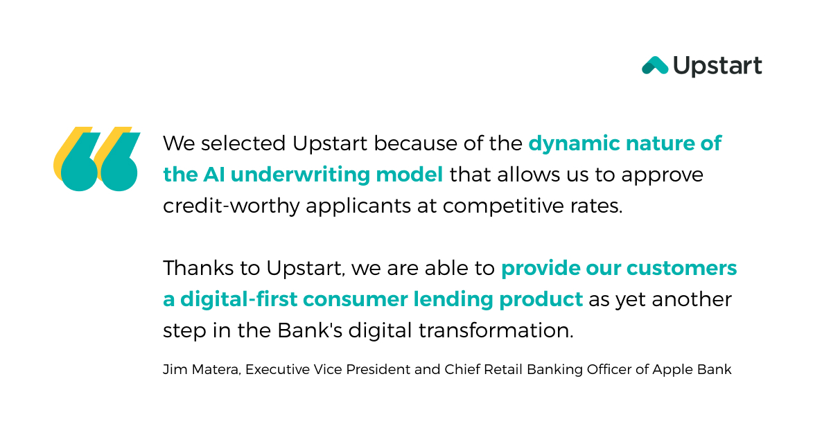 test Twitter Media - We are thrilled to share that @applebankcare has chosen to leverage Upstart's dynamic AI underwriting model and state-of-the-art origination platform to provide a fast and seamless digital experience.  #ailending #consumerloan #digitallending #fintech https://t.co/SkTIXlzsg6