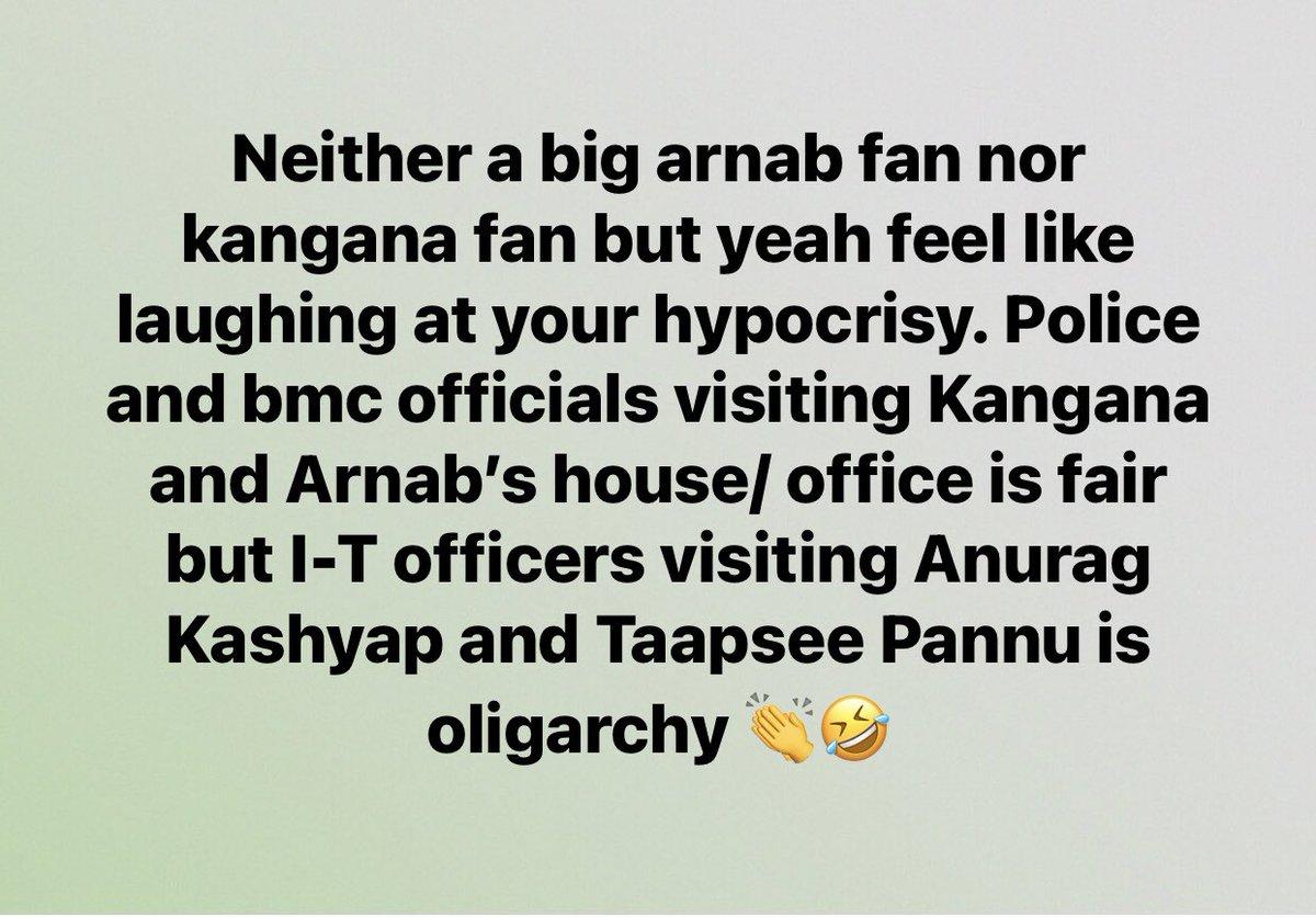 @taapsee @anuragkashyap72 @KanganaTeam #ArnabGoswami #Hypocrisy #IndiaAgainstPropaganda #IncomeTaxRaid #ITRaids #justice @republic @TimesNow @ndtv @htTweets @pbhushan1