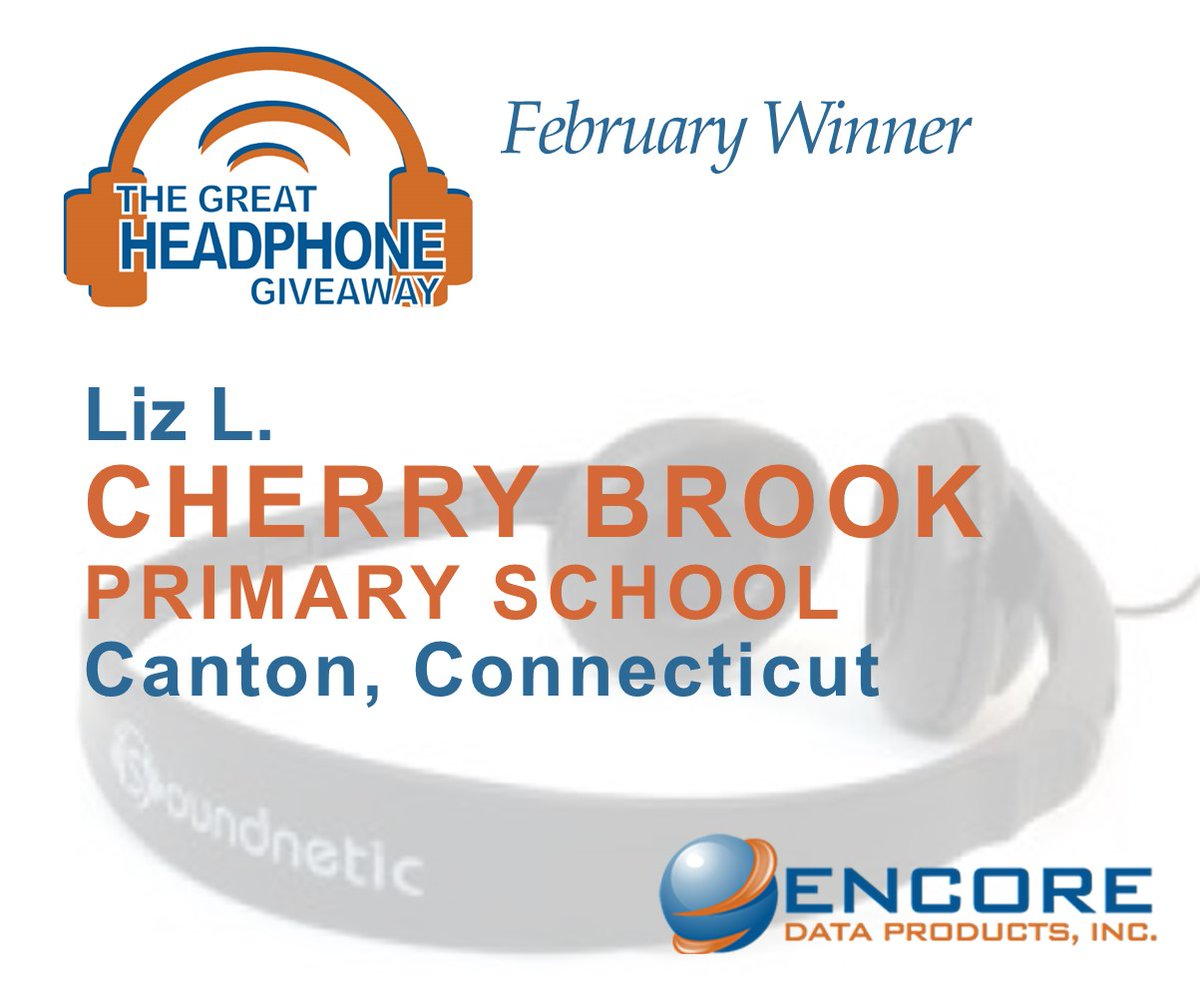 """CONGRATS to our February Great Headphone Giveaway Winner, Liz L. from Cherry Brook Primary School in Canton, CT. Liz selected 15 Soundnetic SN-410 Headphones. """"Having headphones will really help them to be more comfortable, which will then help them to learn!"""" - Liz L. https://t.co/MdrNH4CB90"""