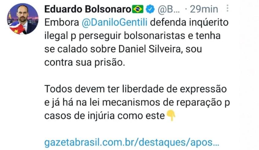 Perguntem para esse DESGRAÇADO, ONDE o Danilo Gentili defendeu o inquérito ilegal para perseguir os Bolsopetistas? Quem pediu a prisão do Daniel Silveira foi Kassio Nunes e Augusto Aras, INDICADOS PELO SEU PAI. Quem pediu a prisão do Danilo foi ARTHUR LIRA, INDICADO PELO SEU PAI!