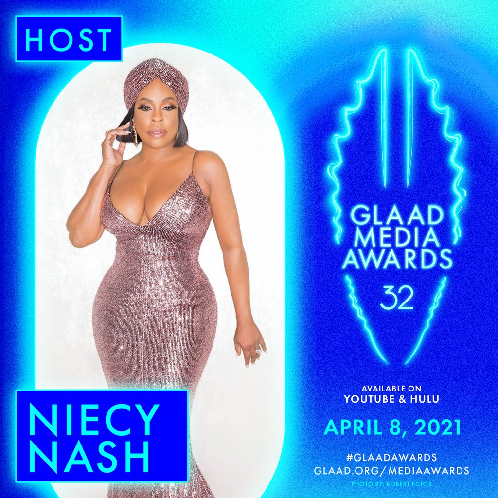 JUST ANNOUNCED: @NiecyNash will host the 32nd annual #GLAADawards, streaming on @YouTube and @hulu on April 8th! 💙🎇