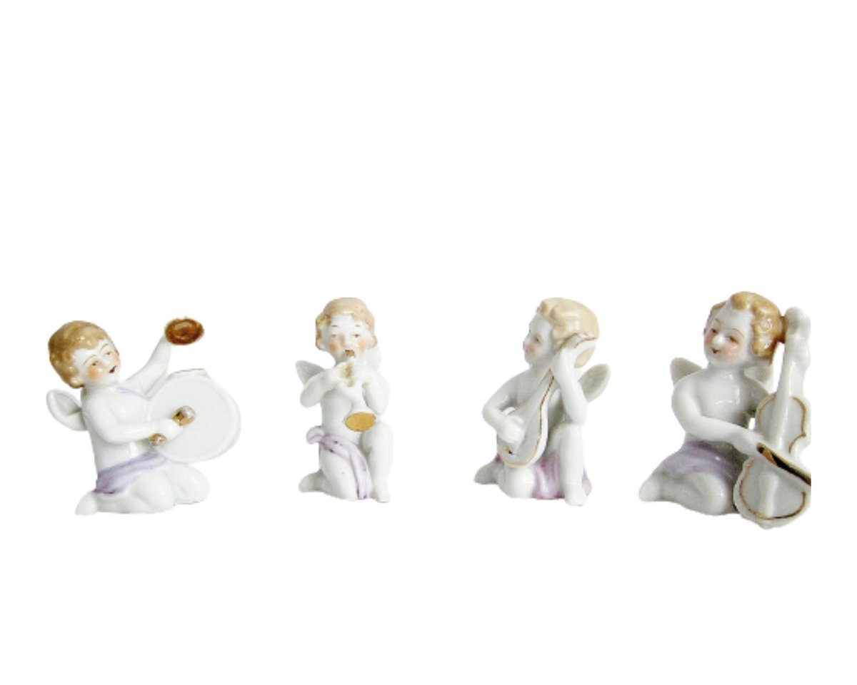 Cherub Band Figurine Set Vintage Japan Porcelain Mid Century Ceramics Gift Idea For Valentine's Day Christmas Religious Decor Pastel Colors  #white #valentinesday #pink #figurineset #vintagefigurines #porcelainfigurines #angelgifts #angelfigurine