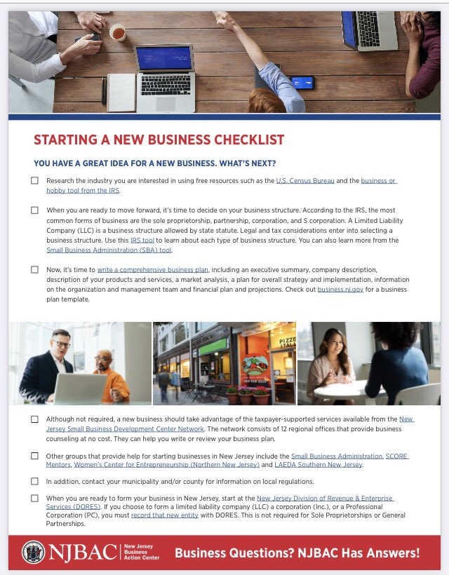 📈 Ready to start your own #SmallBusiness in the Garden State? ✅ Use our handy checklist!