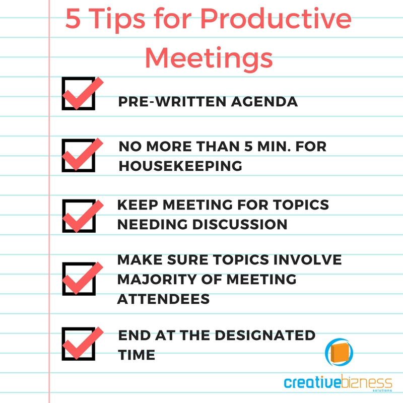 Do you have productive meetings?  5 tips for productive meetings. #SmallBusiness #Productivity