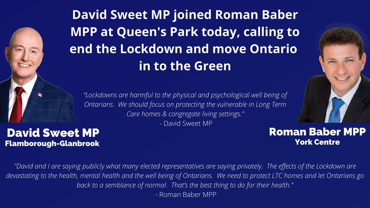 Great news: David Sweet MP joined me at Queens Park this morning to call on Ontarios Government to #LiftTheLockdown & move Ontario in to Green. @DavidSweetMP is the first sitting CPC Member of Parliament to do so & hopefully not the last. Thank you David! #onpoli #cdnpoli