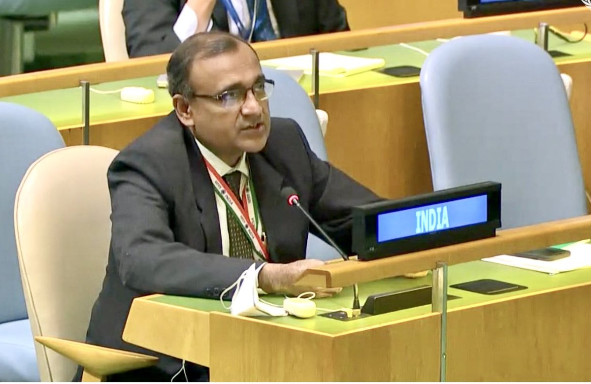 "Delighted that Indian 🇮🇳 sponsored @UN resolution on ""International Year of Millets 2023"" was adopted by consensus in #UNGA this morning.  Big step to promote nutritional & ecological benefits of #millets to the 🌏 as a key component of food basket & effect policy changes - 1/2"