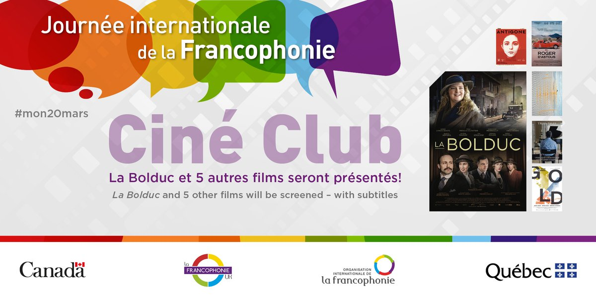 La Francophonie fait son cinéma!  This #Cinema Club is organised by @CanadianUK and @QuebecUK, with the support of the #FrancophonieUK group.  The movies will be screened with English subtitles during the month of March. Register for free here and enjoy!  https://t.co/lMfekfUtGZ https://t.co/AopWFE2WtH