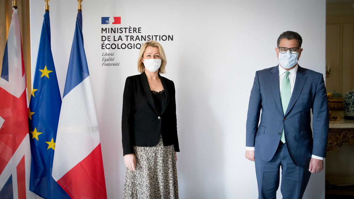 Always fantastic to talk to @barbarapompili about collaboration on #ClimateAction that leaves no one behind 🇫🇷  I look forward to working with France ahead of the #G7 and #COP26 in a year where #ClimateChange must be the green thread weaving through every international gathering