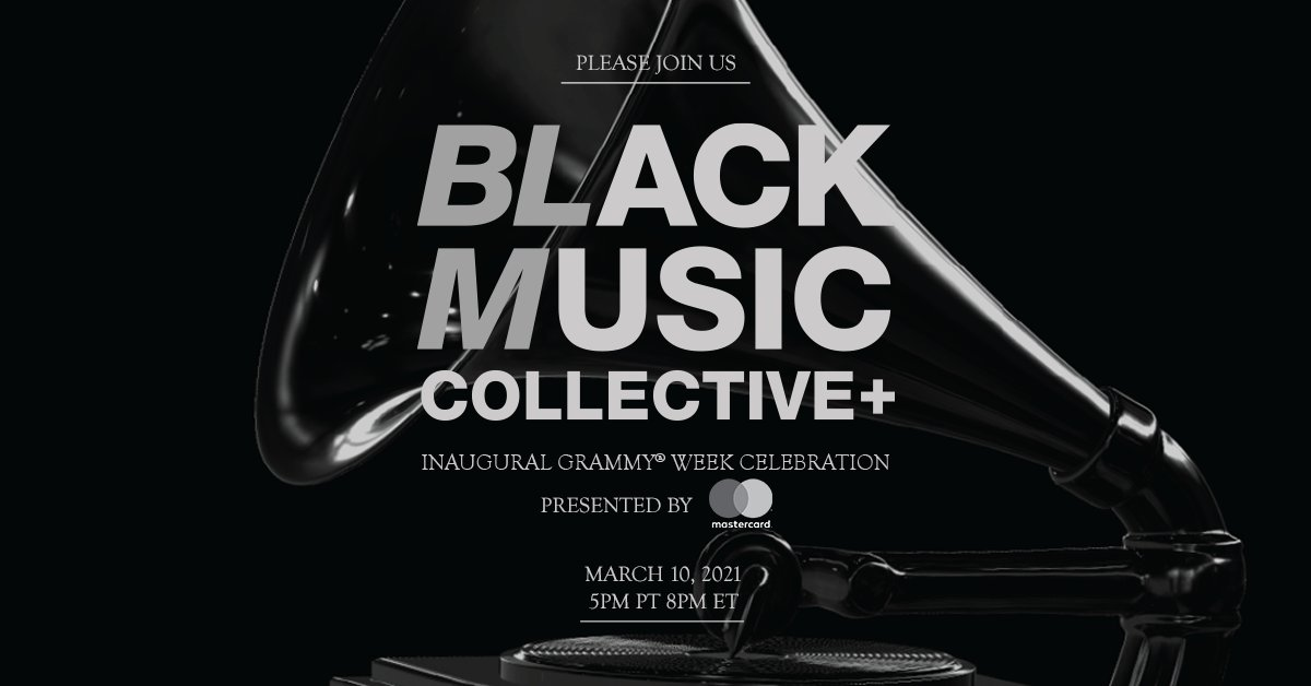 Were 1️⃣ week away from the inaugural #BlackMusicCollective event during #GRAMMYs Week 2021! @johnlegend, @QuincyDJones, @HERMusicx, @JanelleMonae, @IssaRae, and more confirmed. 🗓: March 10 ⏰: 5 p.m. PT / 8 p.m. ET 📲: Watch it on GRAMMY.com
