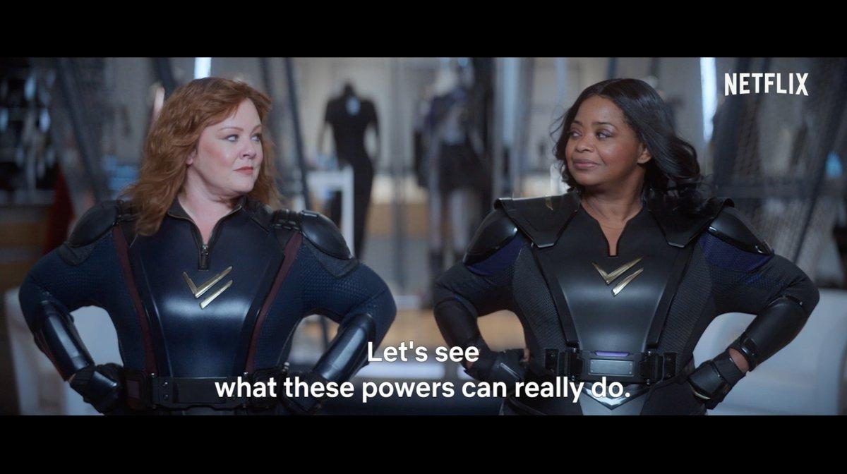 Best friends make even better superheroes.   Melissa McCarthy and Octavia Spencer star in Thunder Force, premiering April 9.