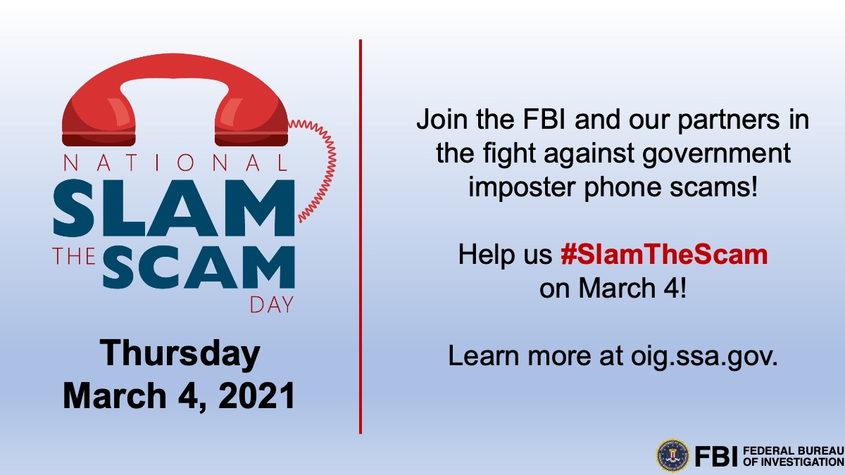 Set your reminder! Join @USAGov for a Twitter chat on Thursday, March 4 at 3 p.m. to learn how to combat fraud and scams. #NCPW2021 #SlamTheScamDay