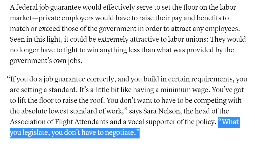A job guarantee would be WAY bigger for labor than just raising the minimum wage so it will be interesting to see if unions give it the same kind of resources they gave the Fight For $15