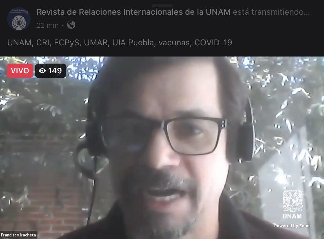 El Dr. Francisco Iracheta señala en el #ForoVirtual de la #Geopolítica de las #Vacunas que las libertades individuales se ven relegadas por el bien común ante la presente #pandemia lo que radica en un dilema moral.  #RevistaRRII #Covid_19 #OMS #OPS #CRI #FCPyS