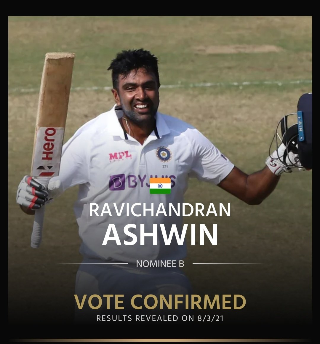 @ICC Ash is legendary spinner and he deserved to the title and only he is the allrounder from India representing icc player of the decade ;we should proud of him #ASHWINANNA #ASHWINBHAI #comeonnashh