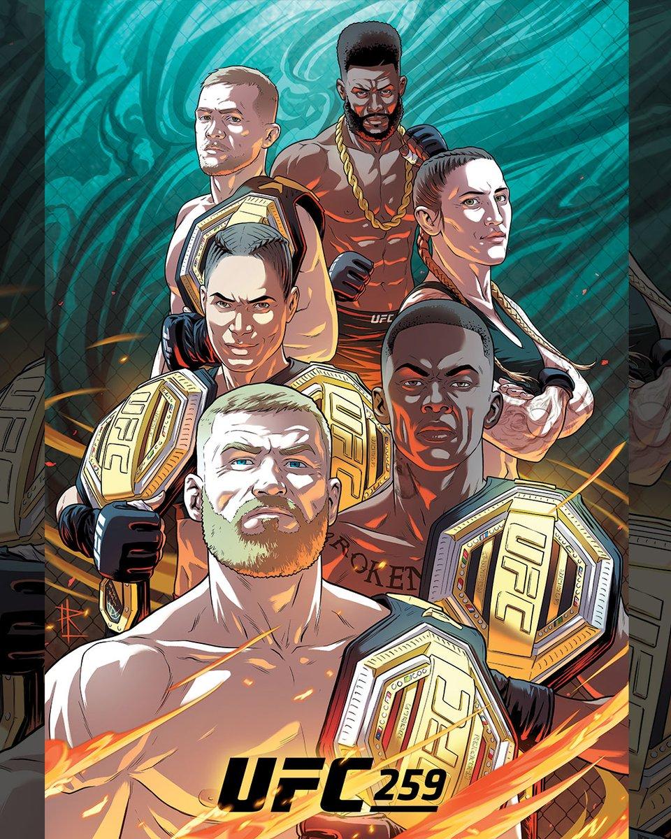 El arte 🎨 de @RodrigoLorenzoL para #UFC259   Este sábado 🔥 EN VIVO 🔥 por #ESPNknockOut   👊 Blachowicz-Adesanya (🏆 semicompleto) 👊 Nunes-Anderson (🏆 pluma)  👊 Yan-Sterling (🏆 gallo)  📺ESPN2 20:15 🇦🇷🇺🇾🇵🇾 19:15 🇧🇴🇻🇪 18:15 🇨🇴🇵🇪🇪🇨  📺ESPN 19:15 🇩🇴 18:15 🇵🇦 17:15 🇳🇮🇬🇹🇸🇻🇨🇷🇭🇳