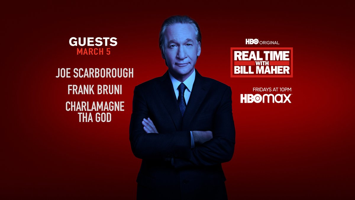 FRIDAY: @BillMaher welcomes @JoeNBC, @FrankBruni + @cthagod to #RealTime @HBO!