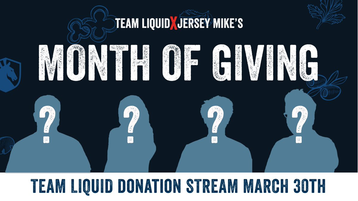 We have BIG news.   All throughout March we are participating in @jerseymikes Month of Giving! They are partnering with over 200 local charities to support our communities.  We will celebrate with 4 mystery members of our TL squad with a charity stream on the 30th! Any guesses?🤔 https://t.co/fGRDhn9SKY