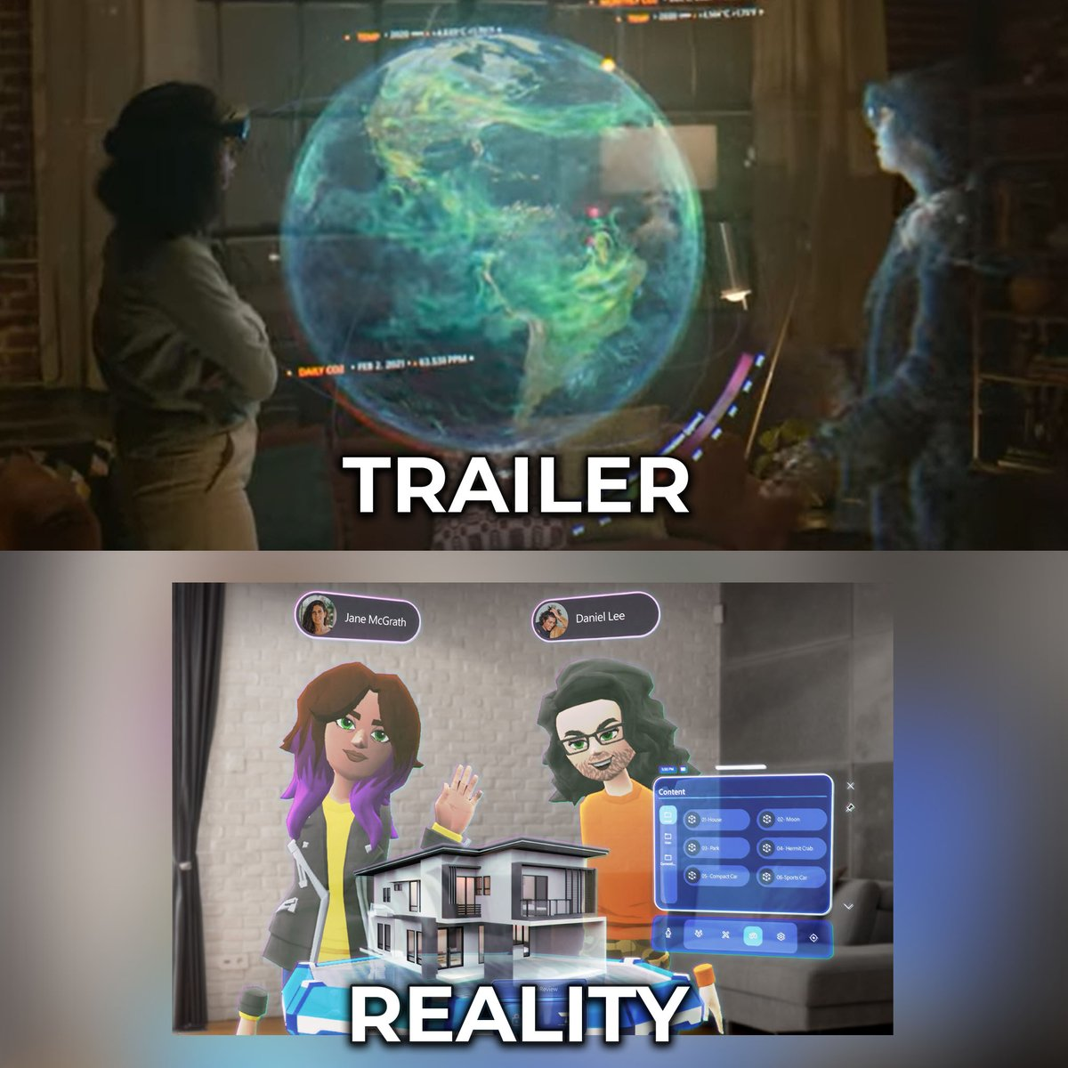 Microsoft Mesh's announcement trailer is a highly misleading CG concept video that isn't representative of what launched whatsoever.  I love the HoloLens, but we really need to stop with these CG trailers. It's setting false expectations & confusing EVERYONE.