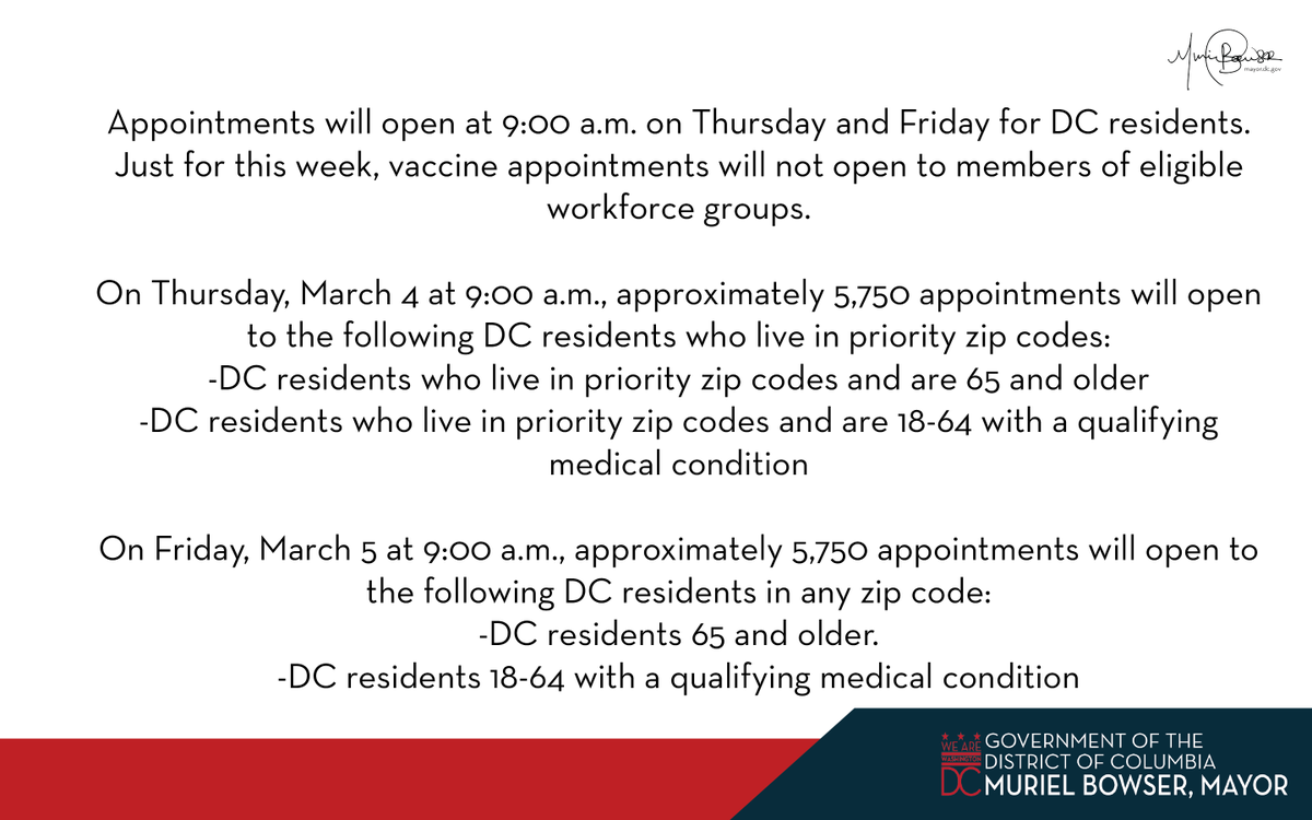 1/ This week, the District will continue to use the vaccinate.dc.gov appointment portal and call center. DC Health and OCTO have been working with Microsoft to ensure a better user experience.
