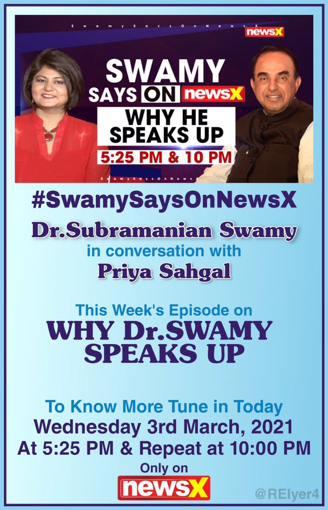 Swamy On Why He Speaks Up   Swamy Says On NewsX   Dr @Swamy39 in conversation with @Priyascorner on @Newsx of Wed 3rd March 2021 Link for Video 👉  via @YouTube