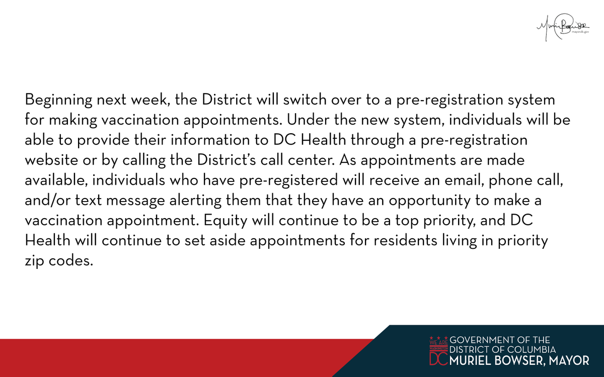2/ Beginning next week, the District will switch over to a pre-registration system for making vaccination appointments.