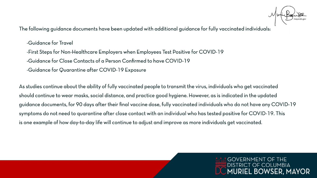 4/ This week, DC Health updated several guidance documents for individuals who are fully vaccinated. Updated guidance documents on coronavirus.dc.gov/phasetwo.