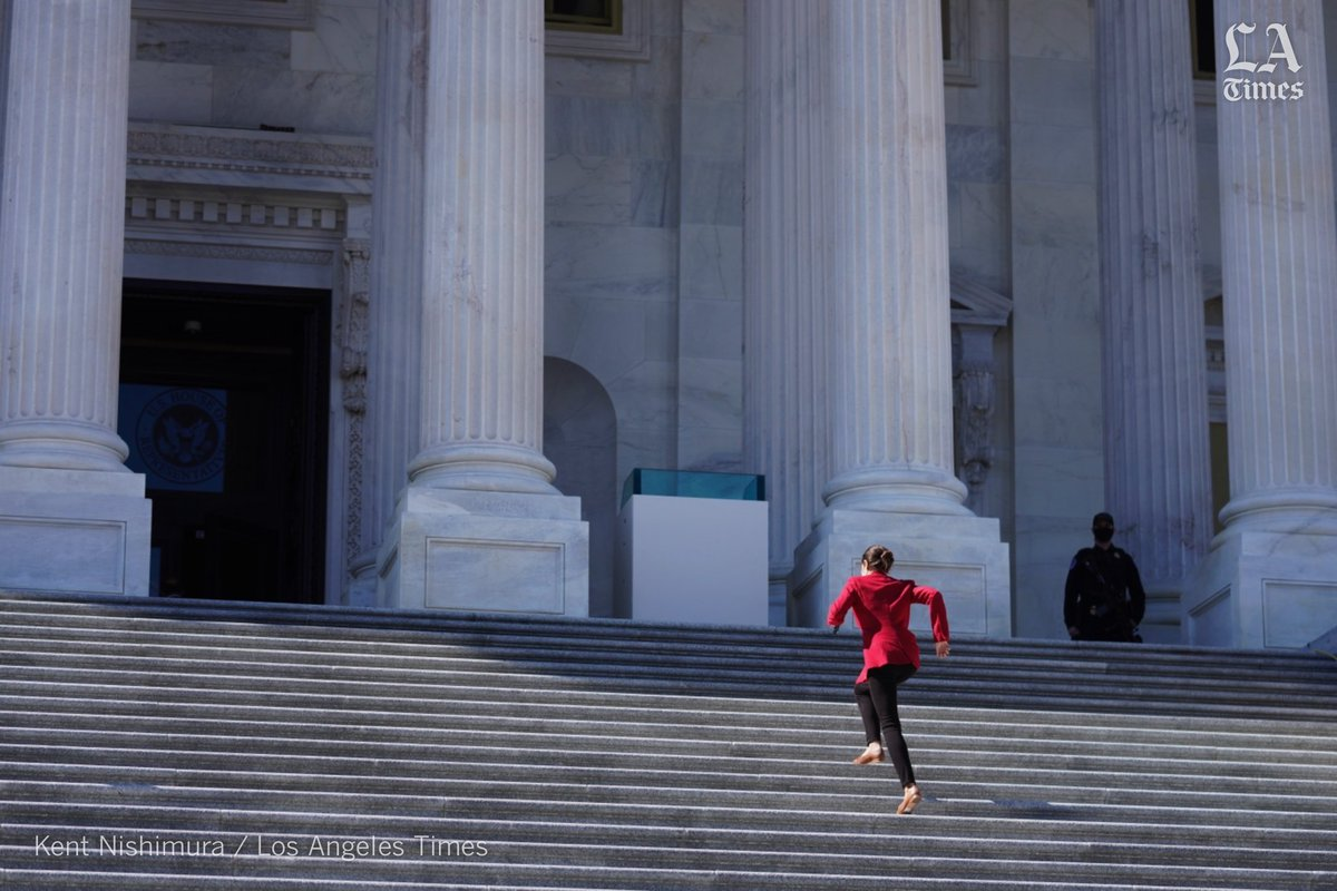 .@AOC skips stairs as she sprints up the east front stairs of the House at the #USCapitol.
