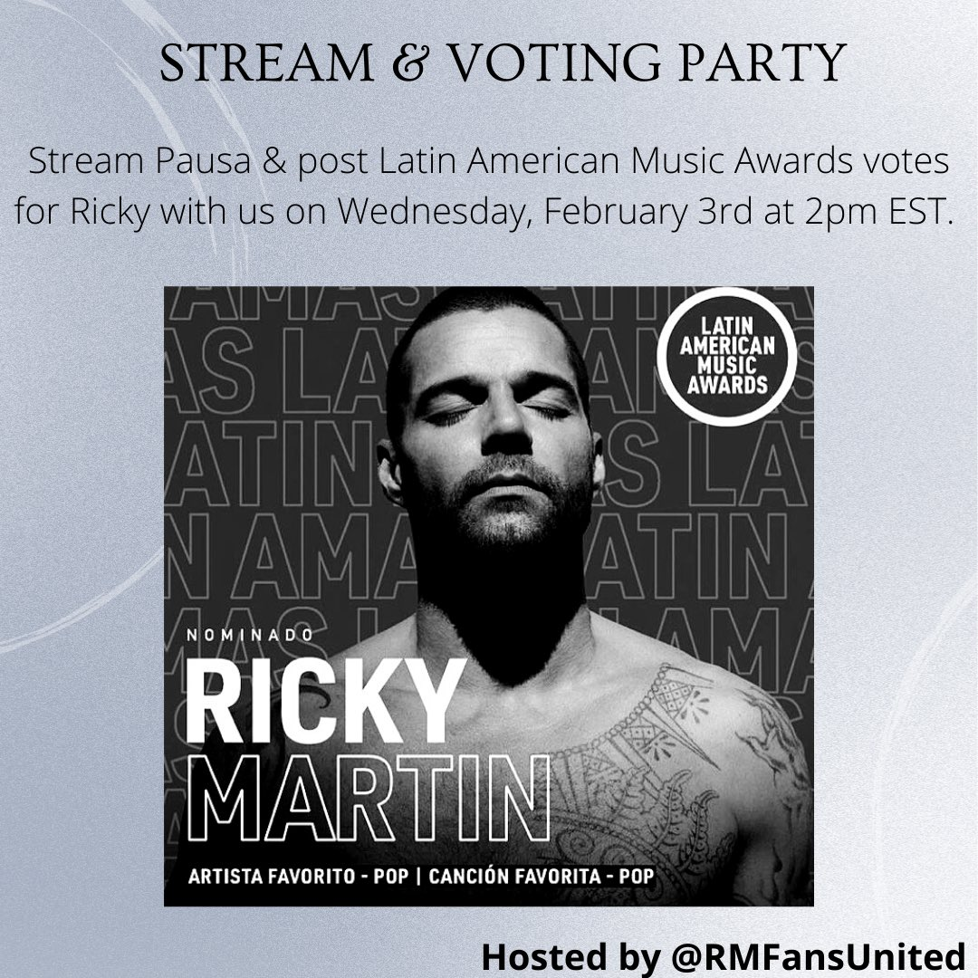 REMINDER: We are a streaming and voting party today at 2pm EST! We'll be streaming #Pausa and doing @LatinAMAs voting for @ricky_martin. Please join us and pass on the word to other #RickyMartin fan!!