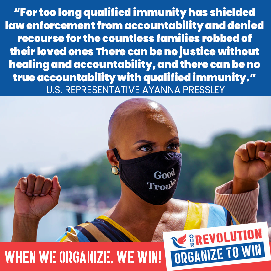 """""""There can be no justice without healing & accountability, and there can be no true accountability with qualified immunity."""" - Rep. @AyannaPressley  #EndQualifiedImmunity"""