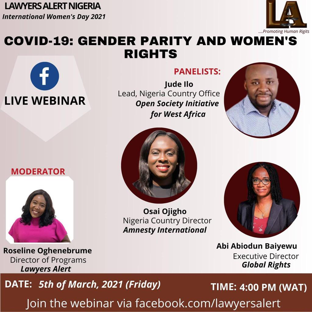 Join the conversation, as Amnesty International's Director Osai Ojigho @livingtruely will be on a panel to discuss; Gender Parity and Women's Rights.  —Friday 5 March —At 4:00pm (WAT) —Live via Facebook @lawyersalertng