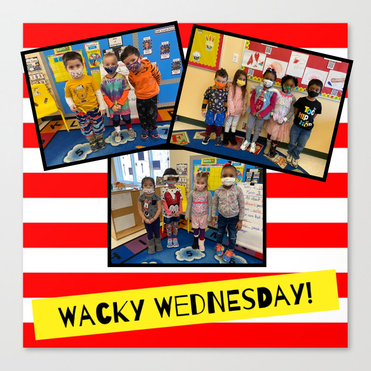 Wacky Wednesday, Pre-K style! 🤪🎉@DrSeuss #ReadAcrossAmerica #literacy https://t.co/cTtxzmJhX7