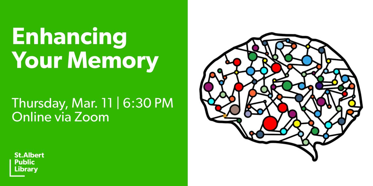 Frustrated by your forgetfulness? Join Enhancing Your Memory next Thursday, Mar. 11 to find out what you can do to keep your memory sharp. This session is presented by the St. Albert & Sturgeon Primary Care Network.  Sign up here https://t.co/K0SHzLjMno #StAlbert #Library https://t.co/3GS0DbtHdi
