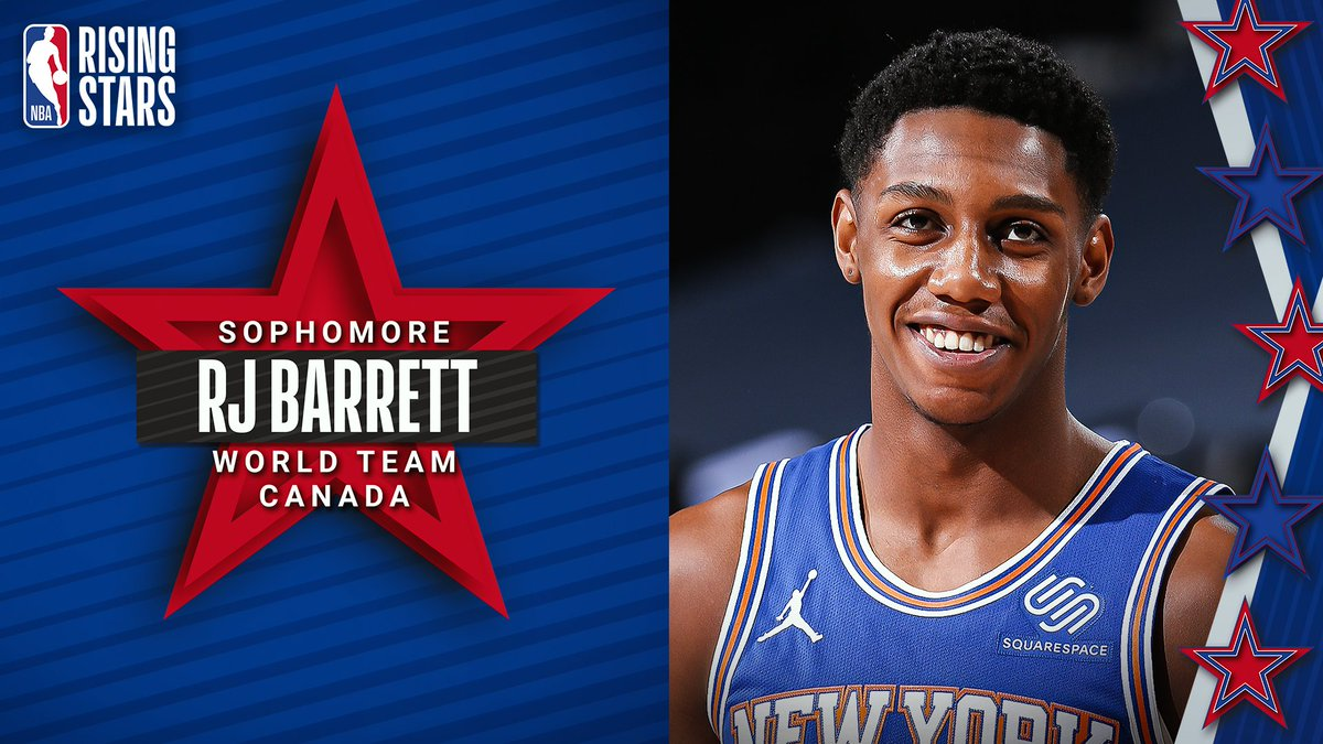 Earning his 2nd Rising Stars selection for the World Team... RJ Barrett of the @nyknicks! @RjBarrett6 was drafted as the 3rd overall pick in the 2019 NBA Draft out of Duke (originally from Canada). https://t.co/lHu80IrpCd