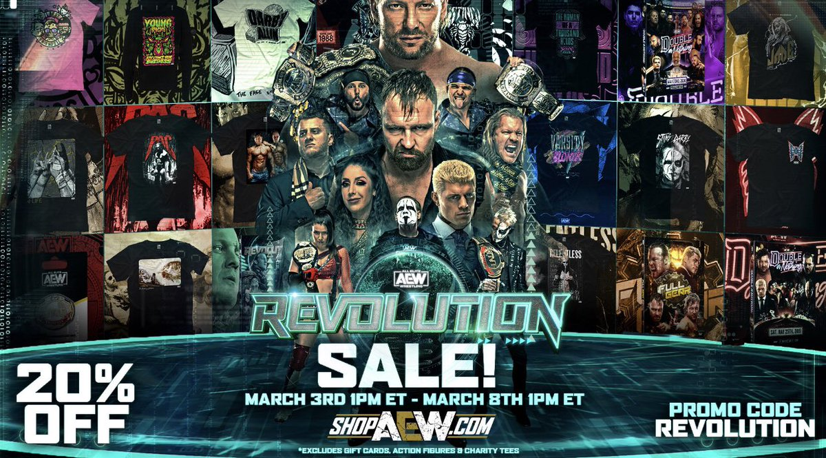 Happening NOW! Head to  &  use promo code REVOLUTION to save 20% off your order from now through 3/8! #AEWRevolution