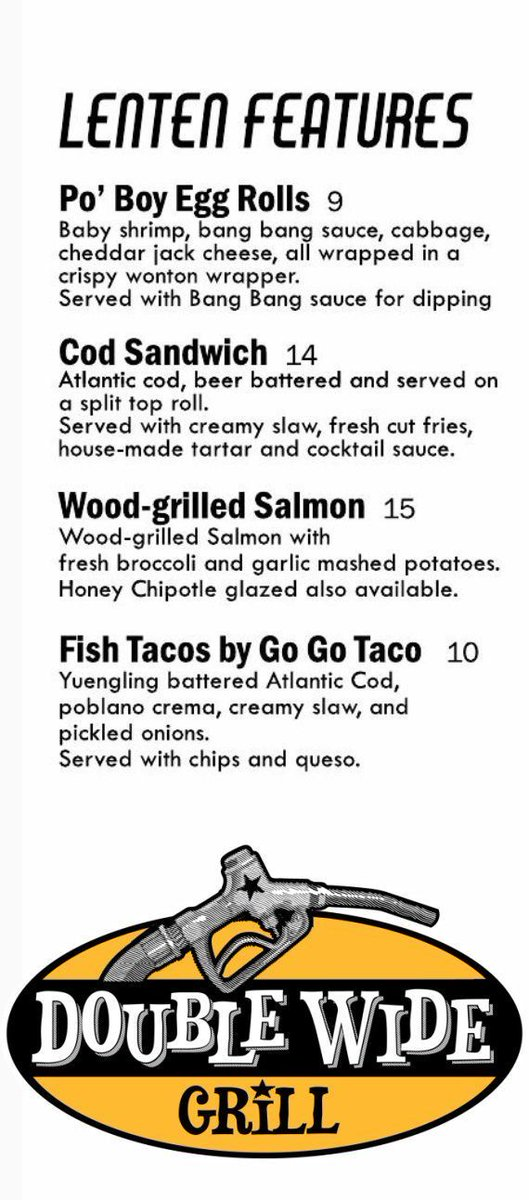 Good news, folks! Our #Lentenmenu is now available to order from EVERY DAY during Lent! Dine in or order online for pick-up or delivery-  #doublewidegrill #southsidepgh #pgheats #LentenSeason #supportlocalrestaurants