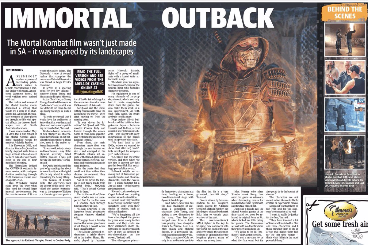 Filming Mortal Kombat demanded a staggering breadth of locations, from ancient Japan to Mongolia to another world.   But they found them all in @southaustralia https://t.co/hG4TWFCILo