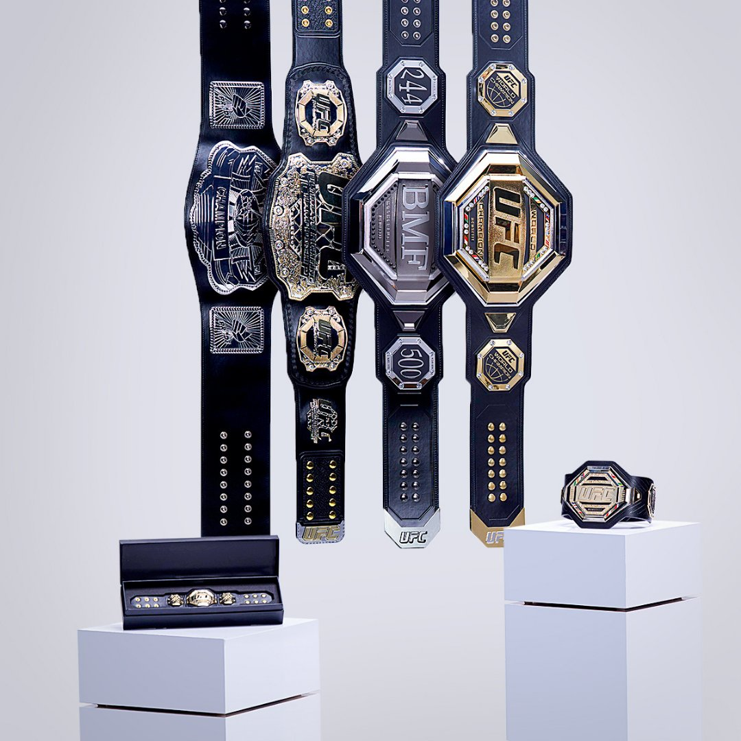 THREE belts on the line this weekend 🏆    Featuring the Replica Belt Collection: the ultimate fan cave or office accessory. #UFCStore #UFC   Shop 🔗 >>