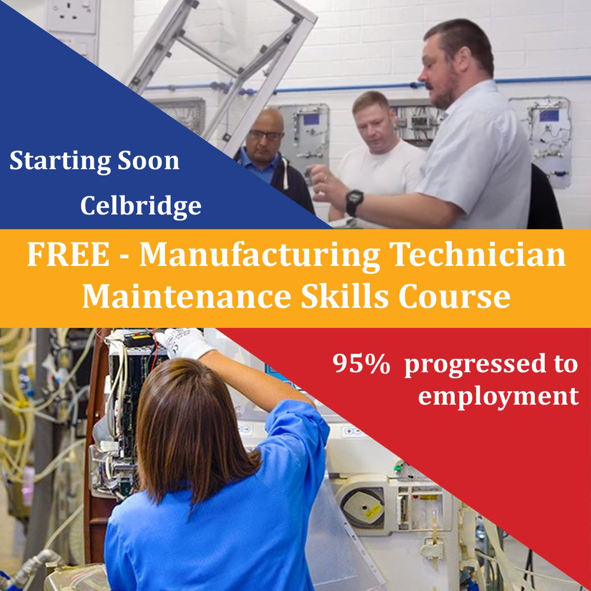 AMAZING opportunity coming up soon in #Celbridge! Female #ManufacturingTechnician Maintenance Skills - starting soon! 95% of candidates progress into relevant employment ✅ FULL-TIME ✅ QQI Lvl 6 ✅ 48 weeks Click to apply https://t.co/FiINv2govF