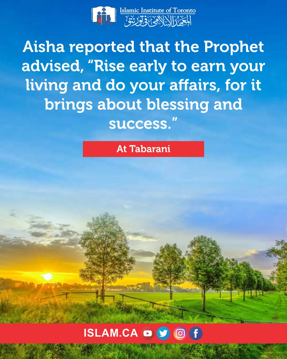 Allah has placed barakah (blessing) for us in the early morning. Prophet Muhammad (ﷺ) said:  Allah has placed barakah for my nation within the early morning times. (Authenticated by Al-Albani)  #iitlearn #dua #islam #muslim #Quran #Allah #mohamed #ﷺ