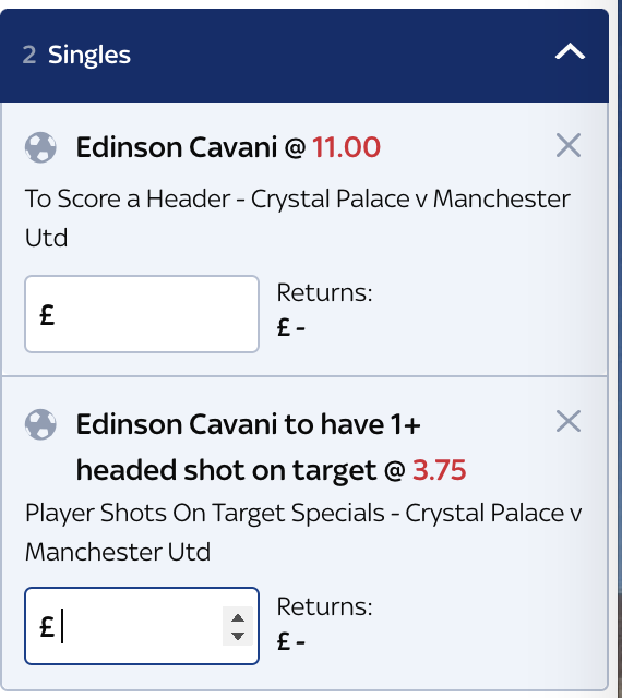 Four of Cavani's six league goals have come via his head this season. I'll be having a small dabble on these with Sky Bet https://t.co/TGhdRCyJrB