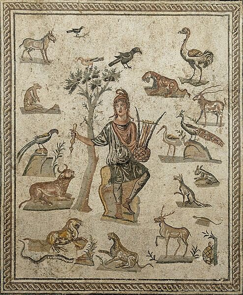 Orpheus mosaic from the Antonino Salinas Regional Archeological Museum, Palermo.   Image: Marie-Lan Nguyen  #WorldWildlifeDay