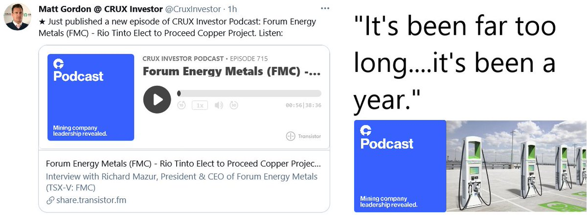 🗣 @CruxInvestor catches up w @forumenergyMC 👂 #stockstobuy $FMC.V $FDCFF #copper #silver #uranium #fintwit #mintwit #fintech #digitaltransformation @fintechna  #cleanenergy @electrekco @chidambara09