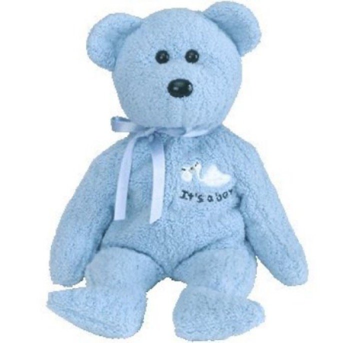 """Baby Boy the bear. Birthday: March 3, 2002. """"Ten little fingers, ten little toes A tuft of hair, a button nose This healthy, bouncing baby boy Will bring you love and lots of joy!"""""""