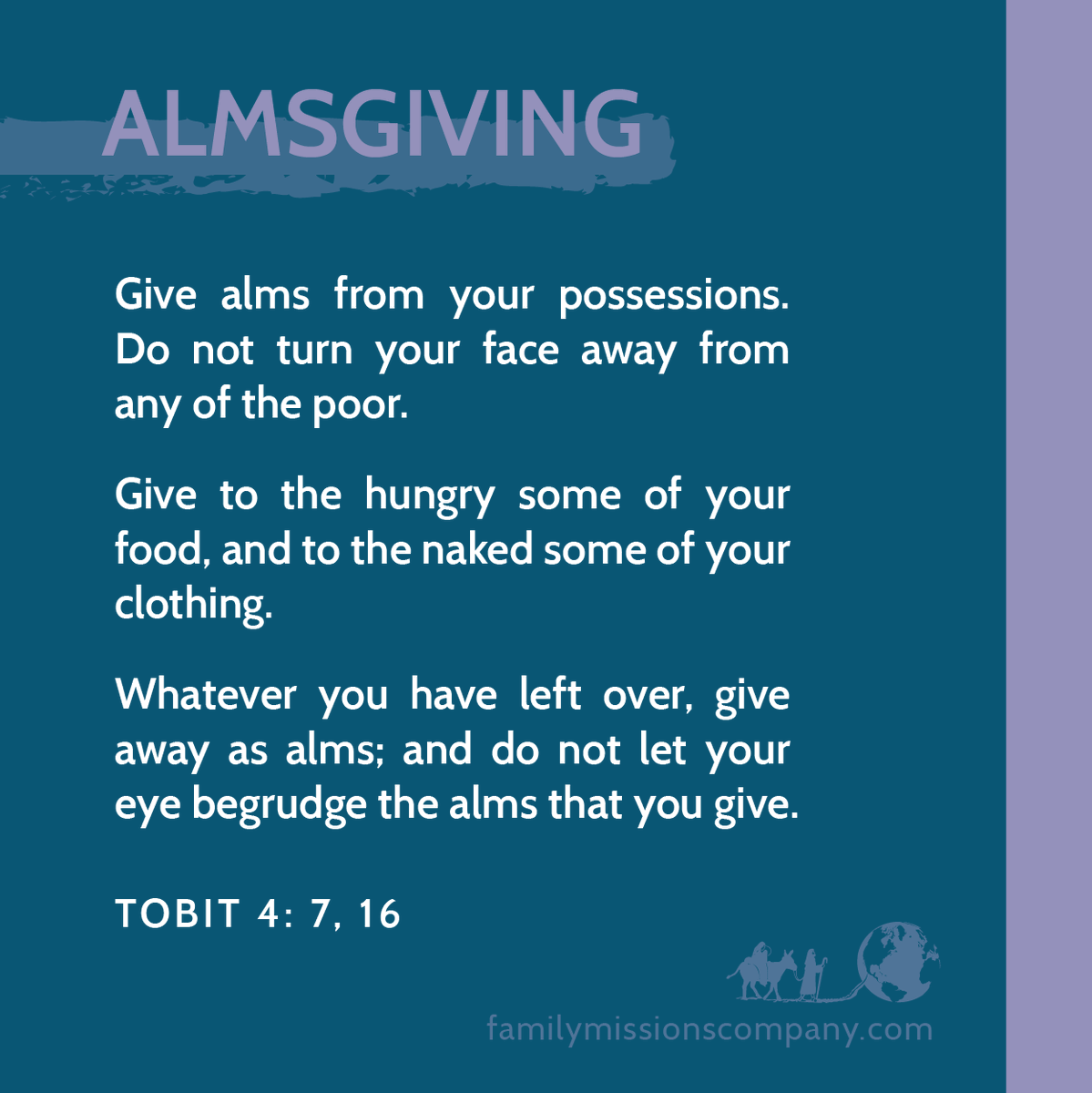 #Prayer and #fasting we get, but #almsgiving is a Lenten practice that can easily be overlooked.   The book of Tobit reminds us to give to the poor and not to turn our face away from them. Who are the poor in my life? I may not have to go far to see them.  #LentenSeason #catholic