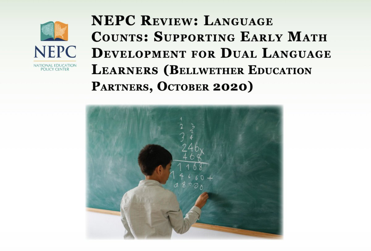 READ: Report Argues Convincingly for More High-Quality Early Childhood Math Programs for Dual Language Learners  Language Counts: Supporting Early Math Development for Dual Language Learners https://t.co/FpteZmZsFo  @sceledon1 #earlymath #DLL #ELL https://t.co/00yBgTiGDN