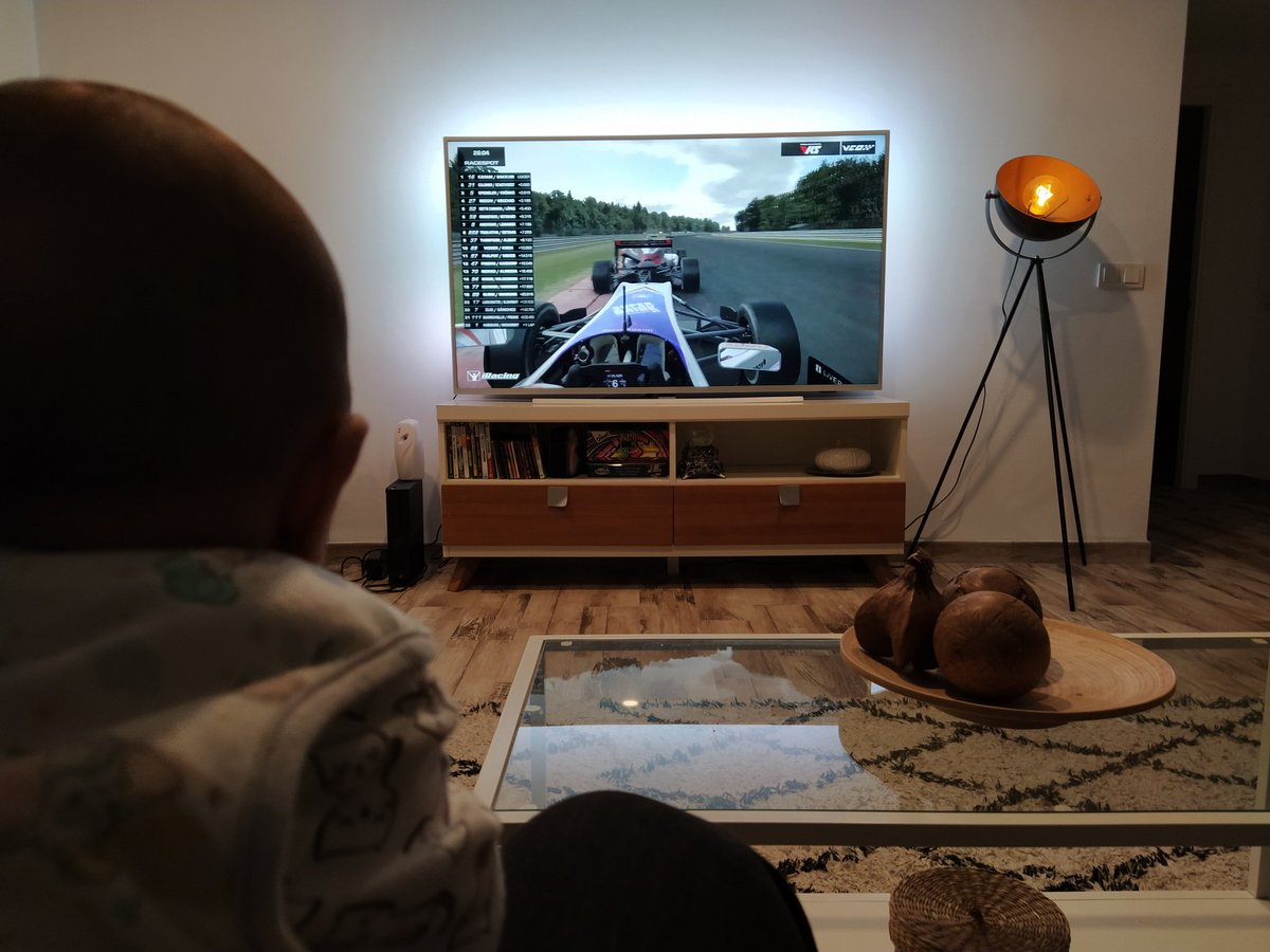 Right from an early age.. watching penultimate race of #vcoprosim with the best fan. #nextgeneration #simracing #babies #baby #esports