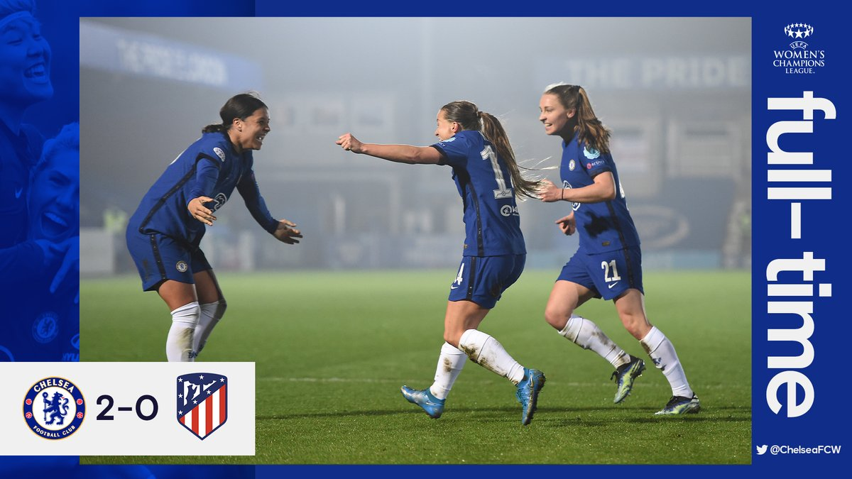 FT: Advantage Chelsea!   The Blues take a two-goal lead into the round of 16 second leg! 💪  #CFCW #UWCL